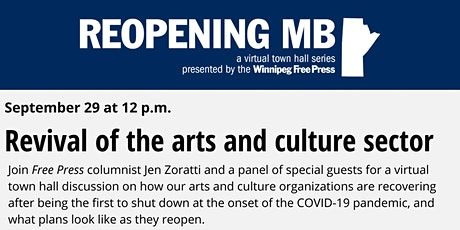 Reopening MB town hall: Revival of the arts and culture sector tickets