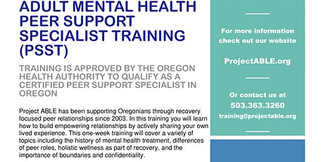 Peer Support Specialist Training tickets