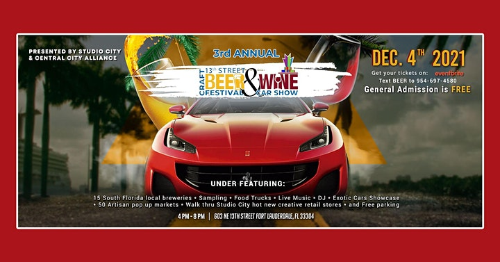 3rd Annual 13th Street Craft Beer & Wine Festival with Exotic Car Show image