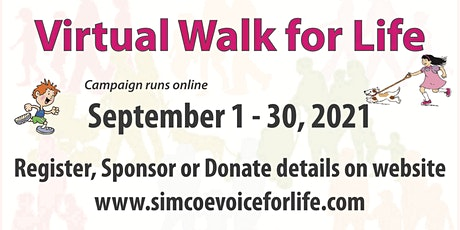 2021 SEPTEMBER (VIRTUAL) WALK  FOR LIFE EVENT- VFL SIMCOE & DISTRICT tickets