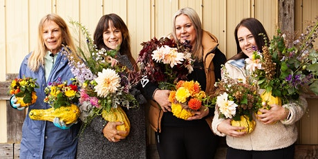 Create a Thanksgiving Centrepiece using fresh cut flowers and a gourd vase. tickets