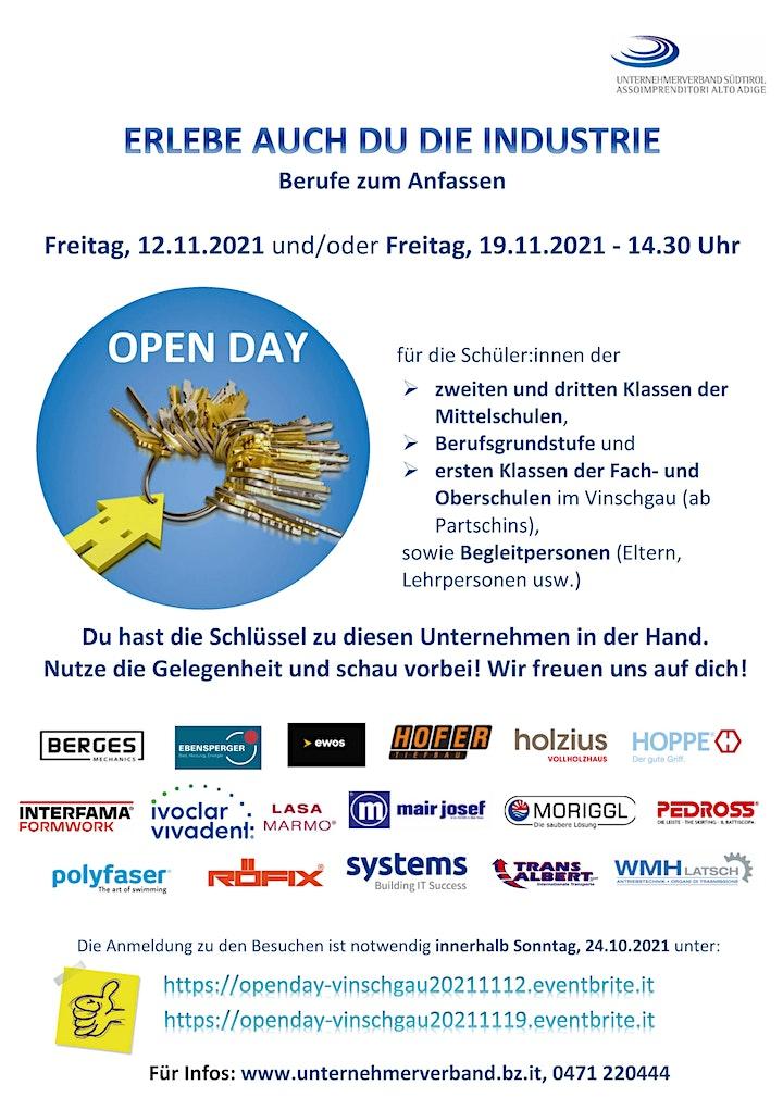 Open Day Vinschgau -  12.11.2021 - 14.30 Uhr: Bild