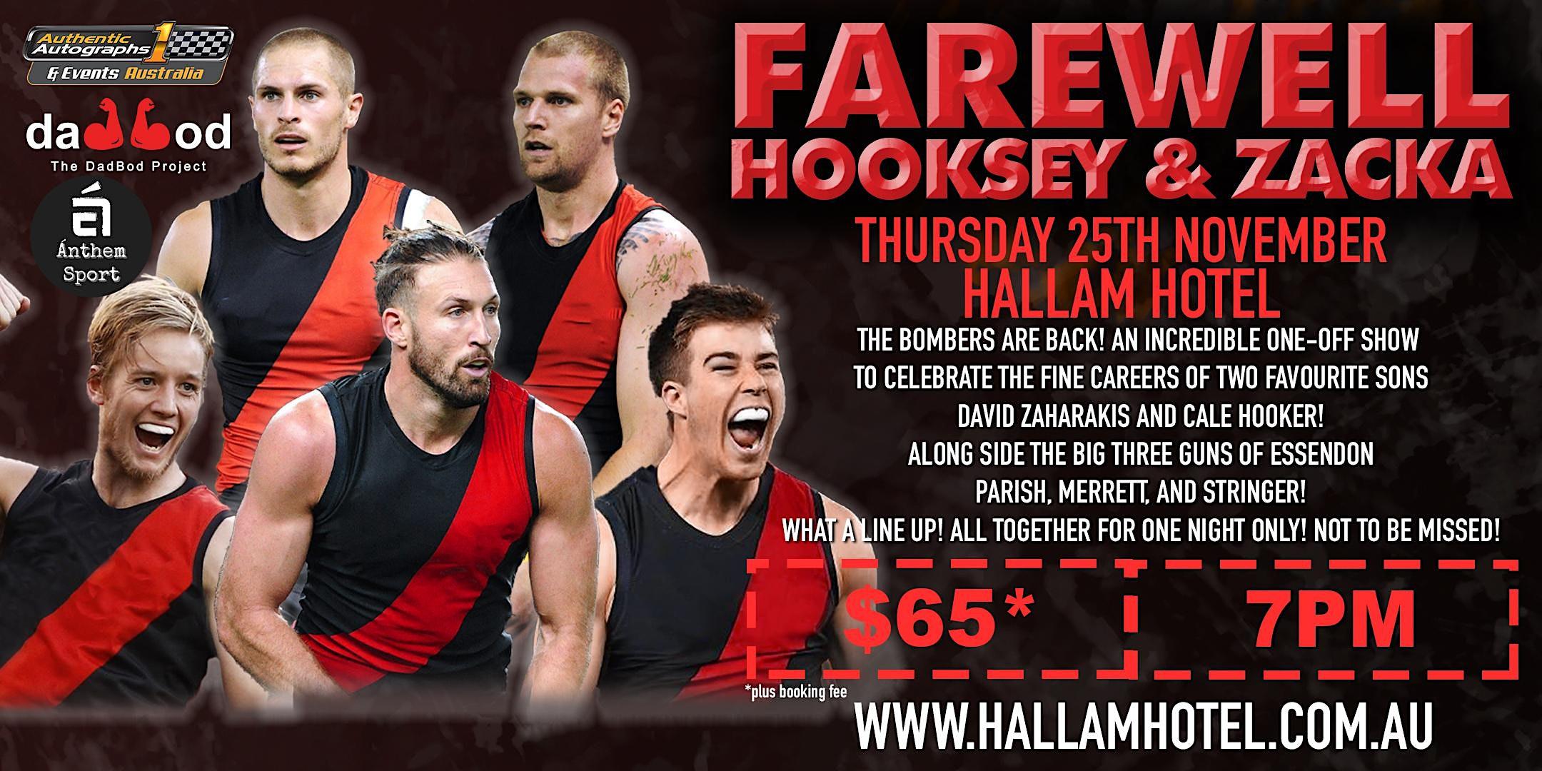 Farewell 2 bombers greats – David Zaharakis and Cale Hooker @Hallam Hotel!