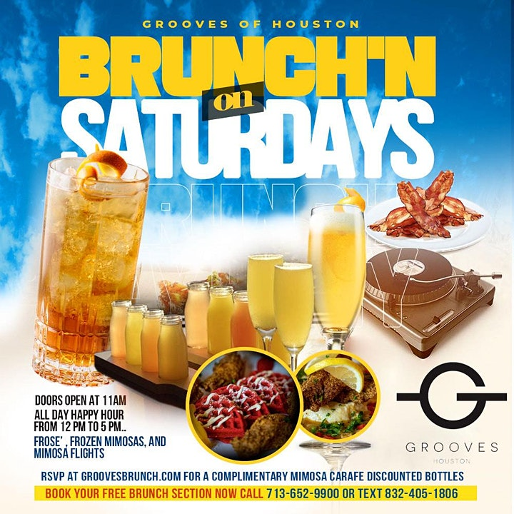 Grooves' Saturday Brunch + Day Party   Brunch 11am-5pm   Happy Hr 12pm-5pm image