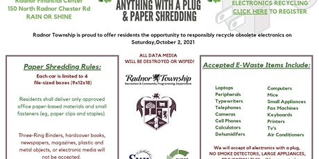 Electronics Recycling & Paper Shredding - Radnor Twp. tickets
