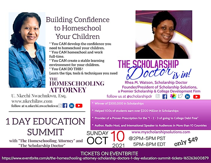 The Homeschooling Attorney & Scholarship Doctor's 1-Day Education Summit image