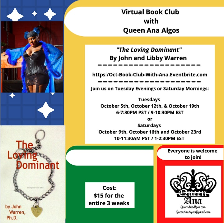 """~Virtual~Book Club w/Queen Ana """"The Loving Dominant"""" By John & Libby Warren image"""