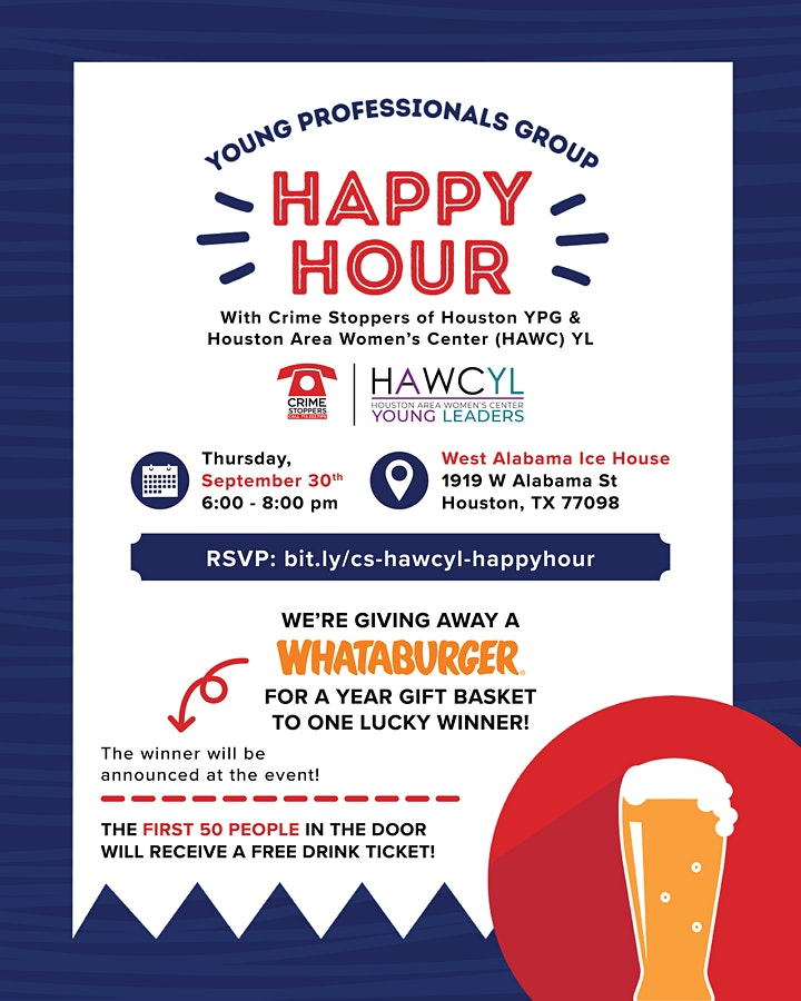 Happy Hour with Crime Stoppers  & Houston Area Women's Center Young Leaders image