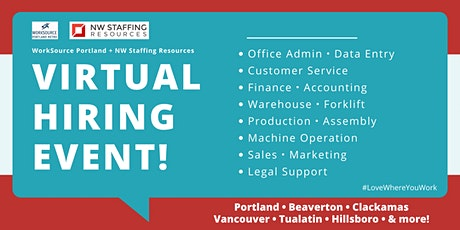 Virtual Job Fair - NW Staffing Resources + WorkSource Portland tickets