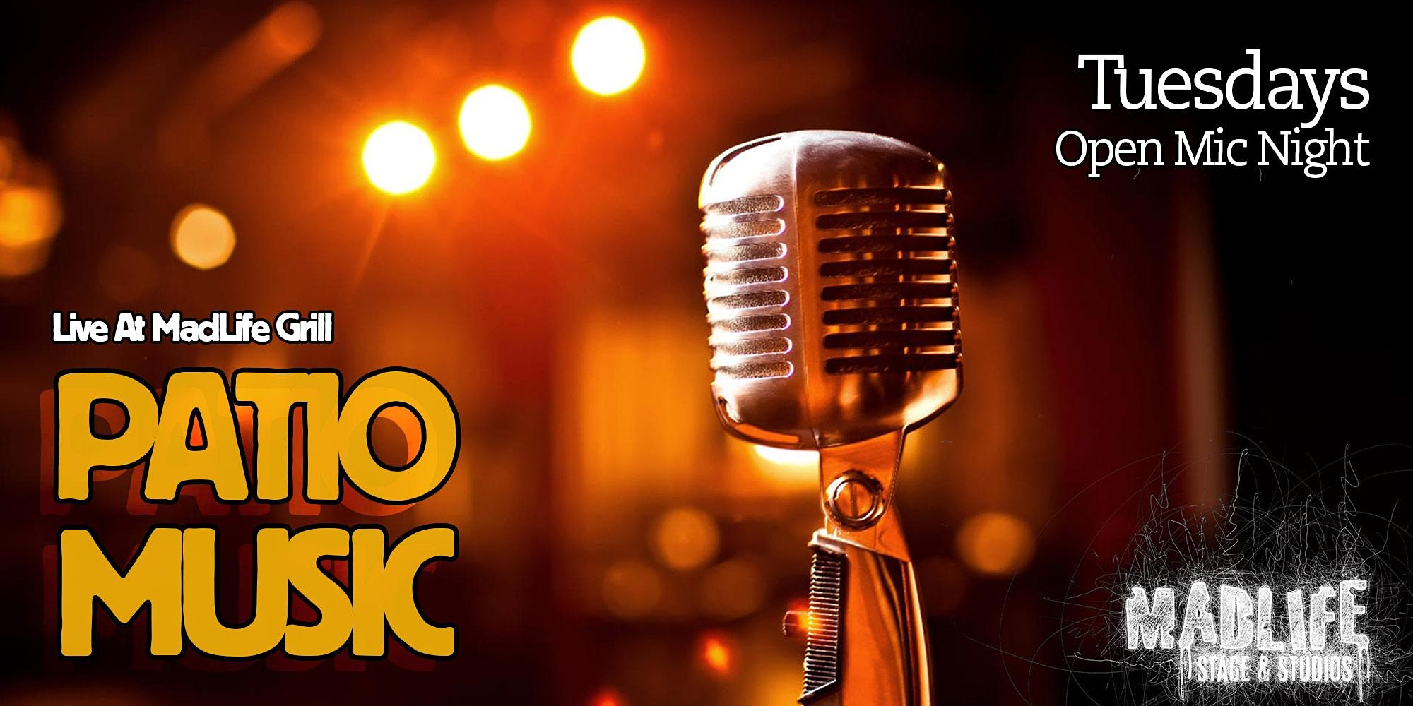 TUE Patio Music Open Mic Night — Hosted by Greg Shaddix