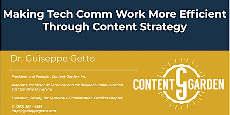 Making Tech Comm Work More Efficient Through Content Strategy with Guiseppe tickets