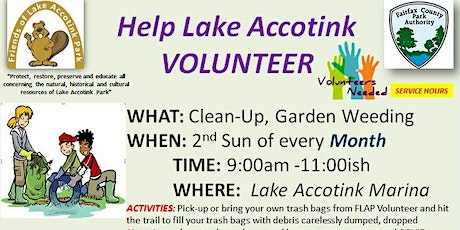 Lake Accotink Park Monthly  Clean-Up tickets