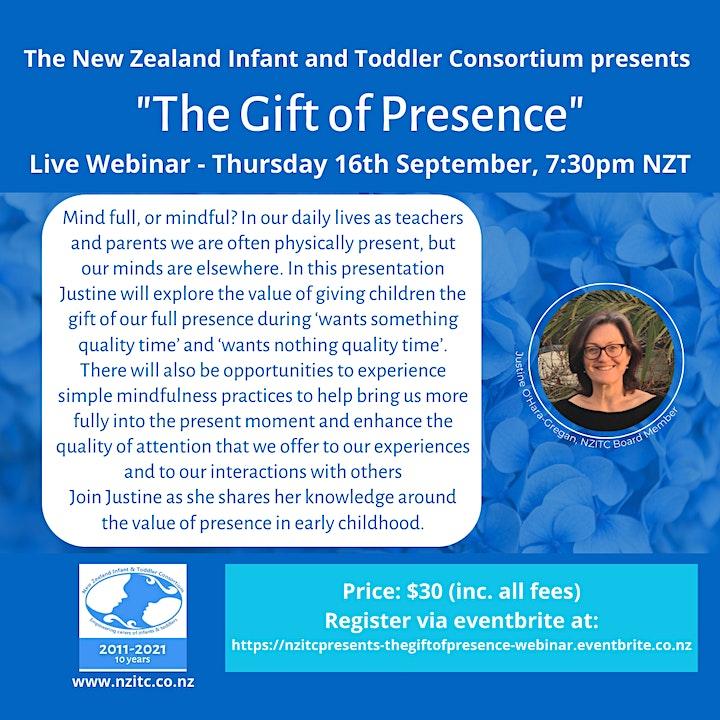"NZITC Presents ""The Gift of Presence "" Live Webinar- Justine O'Hara-Gregan image"