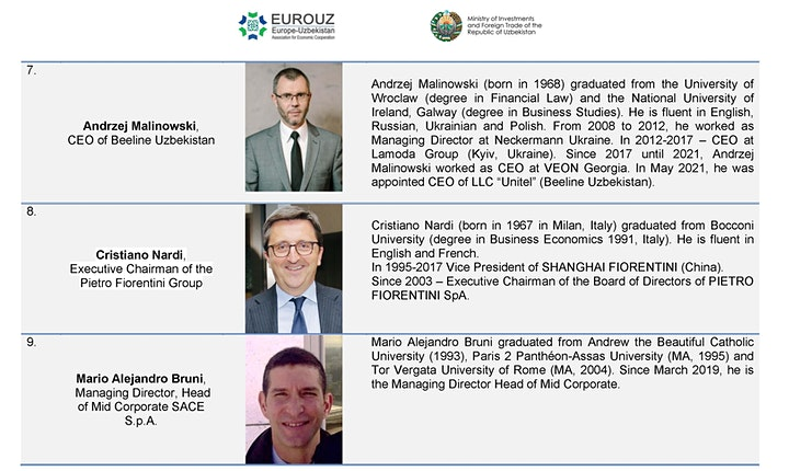 EUROPE-UZBEKISTAN BUSINESS ROUND TABLE image