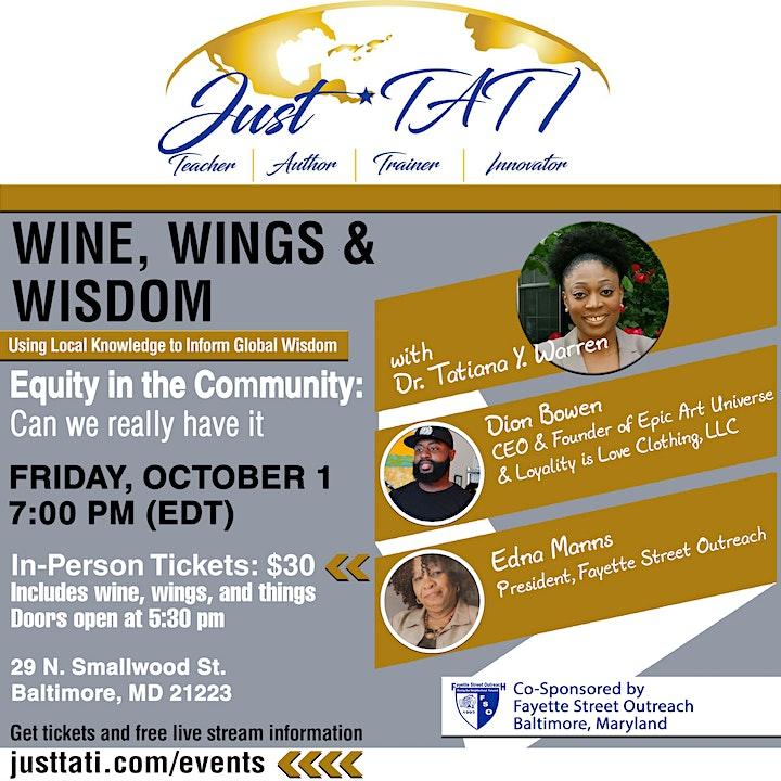 Wine, Wings & Wisdom w/ Dr. Tatiana Warren: Equity in the Community image