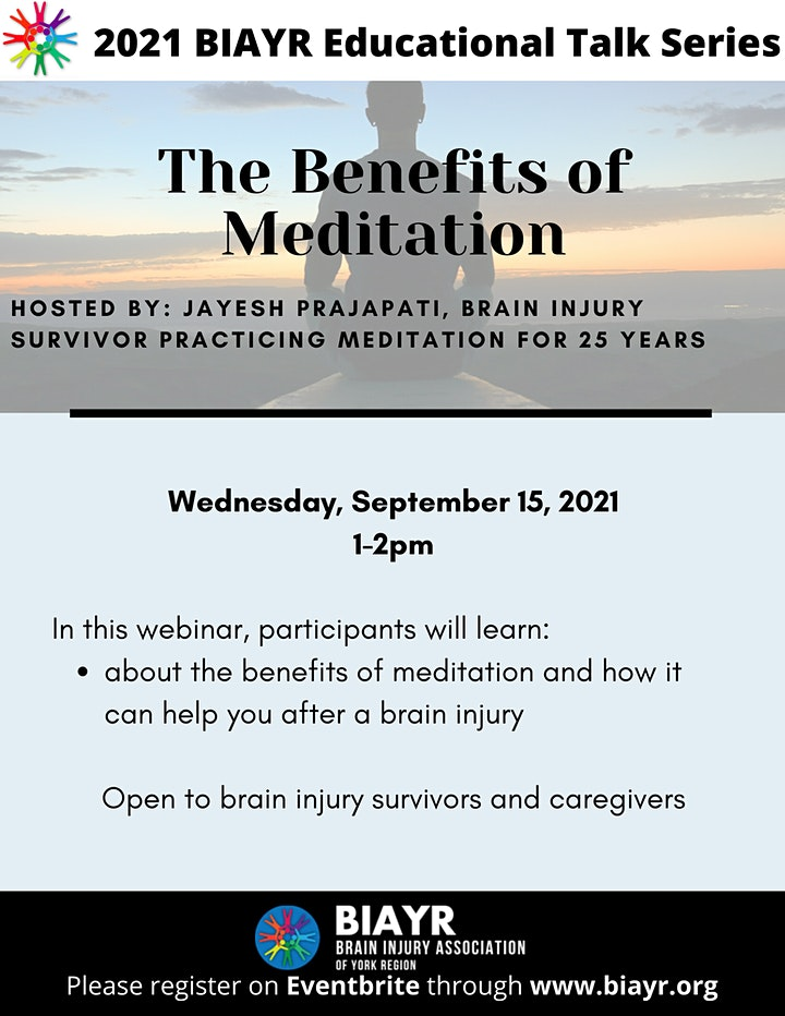 The Benefits of Meditation - 2021 BIAYR Educational Talk Series image