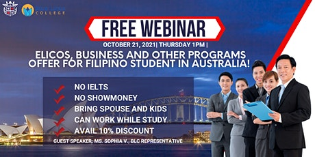 ELICOS, BUSINESS AND OTHER PROGRAMS OFFER FOR FILIPINO STUDENT IN AUSTRALIA tickets