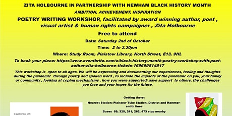 Black History Month Poetry Workshop  with poet & author  Zita Holbourne tickets