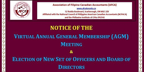 The AFCA 2021 AGM & Election of Officers and Board of Directors tickets