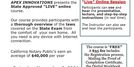 """""""FREE"""" LIVE ONLINE CALIFORNIA - NOTARY PUBLIC COURSE - NOVEMBER 6, 2021 tickets"""