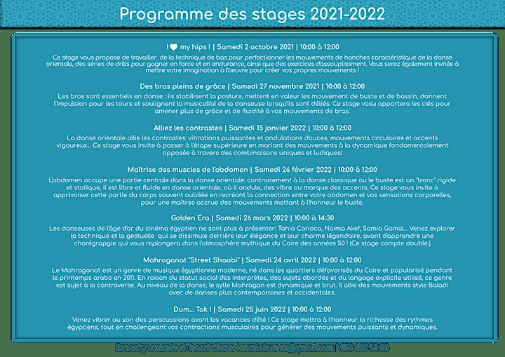 Image pour Danse orientale - Stages 2021-2022