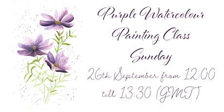 Watercolour Purple Flower Class tickets