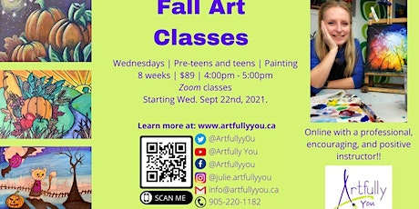 Fall Kids & Teens Painting  Classes Ages 8-13+ tickets