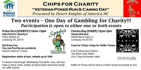 """Chips for Charity """"Veteran Poker Run & Casino Day"""" Presented by DKMC tickets"""