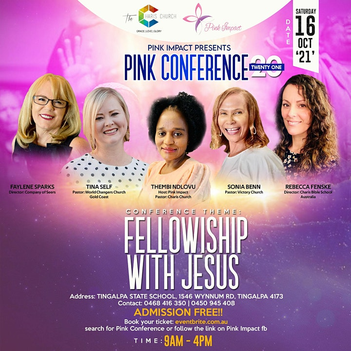 Pink Conference . This is a gathering of women , fellowshipping Jesus image