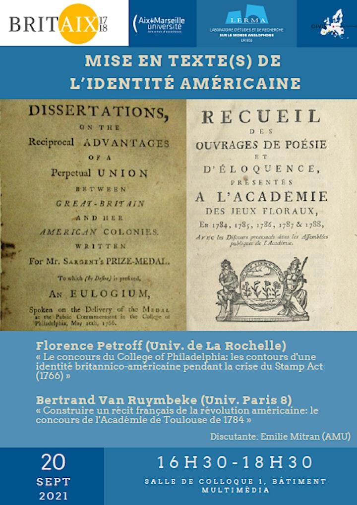 """Image pour Séminaire """"Mise en texte(s) de l'identité américaine"""""""