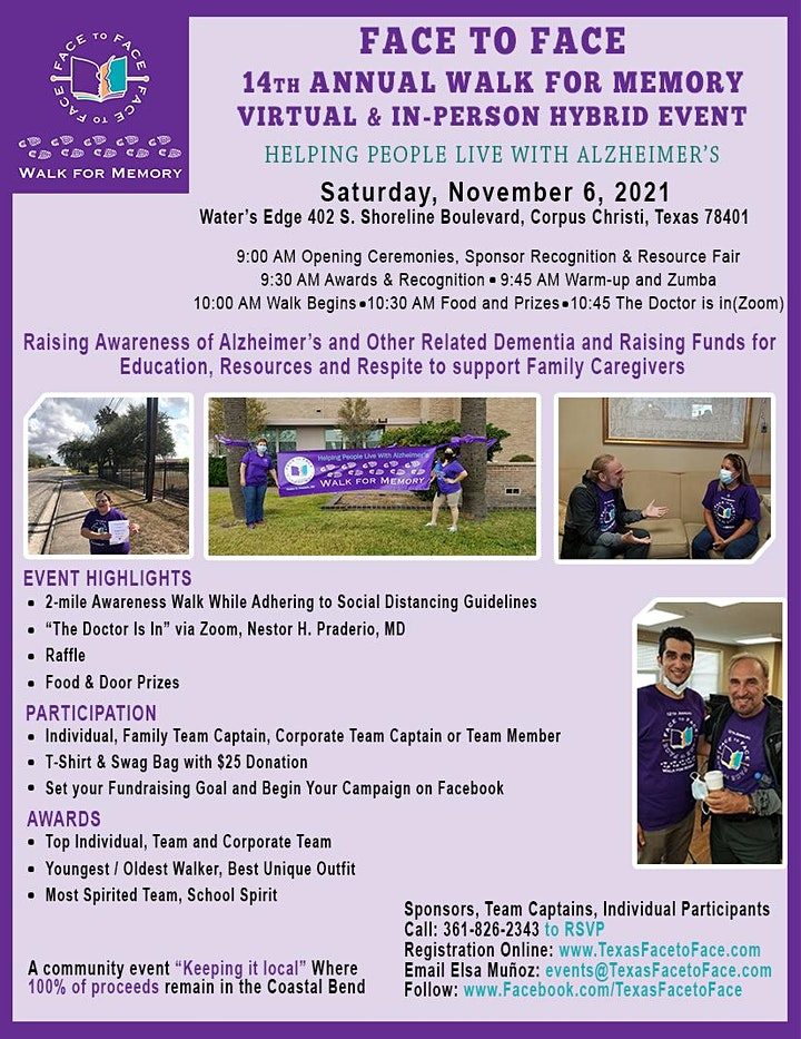 Face to Face 14th Annual Walk for Memory Virtual-&-In-Person Hybrid Event image