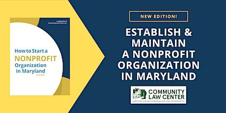 Establish and Maintain a Nonprofit Organization in Maryland - Nov. 2021 tickets
