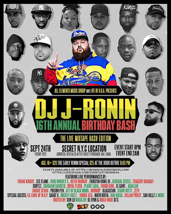DJ J-Ronin 16th Annual Birthday Bash: The Live Mixtape Bash Edition image
