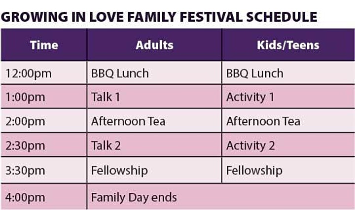 Growing in Love Family Day image