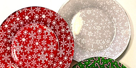 Christmas Decoupage - Make A Set Of Four Plates With Christmas Fabric tickets