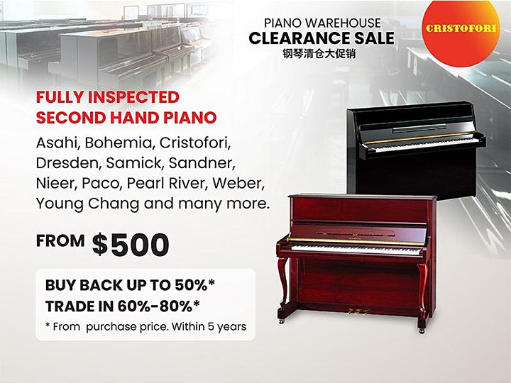 PIANO WAREHOUSE CLEARANCE SALE @  SINGAPORE'S LARGEST PIANO SHOWROOM! image