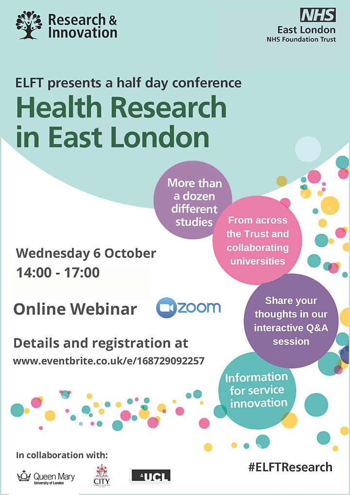 Health Research in East London Virtual Conference image