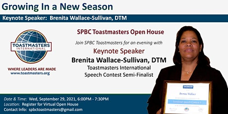 SPBC Toastmasters Club Virtual Open House Fall 2021 tickets