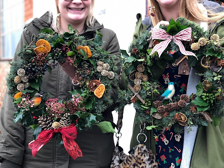Christmas wreath making workshop. Includes Free prosecco and cake. image