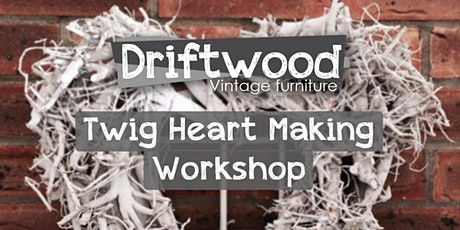 Twig heart or star making workshop. Includes free prosecco and cake tickets