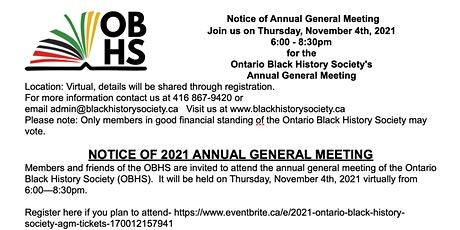 2021 Ontario Black History Society AGM tickets