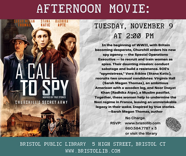 Afternoon Movie: A Call to Spy (2019) PG-13 image