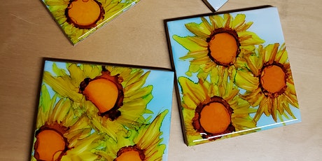 Sunflowers Alcohol Ink And Resin Coasters tickets