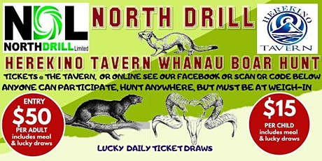 North Drill Herekino Tavern Whānau Boar Hunt tickets