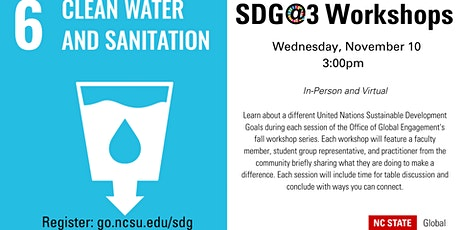 SDG@3 Workshop: Goal 6: Clean Water and Sanitation tickets