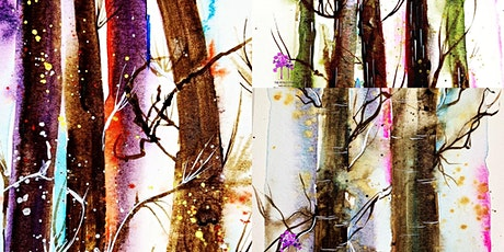 Loose watercolour Atmospheric Fall Woodland Painting workshop tickets