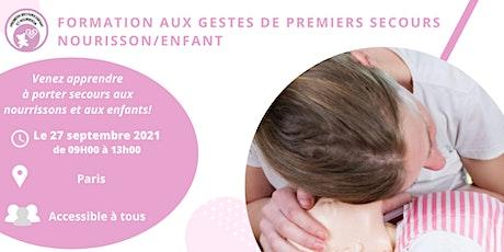 Formation aux gestes de premiers secours  Nourrisson/Enfant - Paris billets