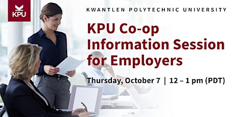 KPU  Co-op Information Session for Employers tickets