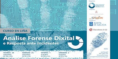 """Curso EN LIÑA: """"Análise forense dixital e resposta ante incidentes"""" ingressos"""
