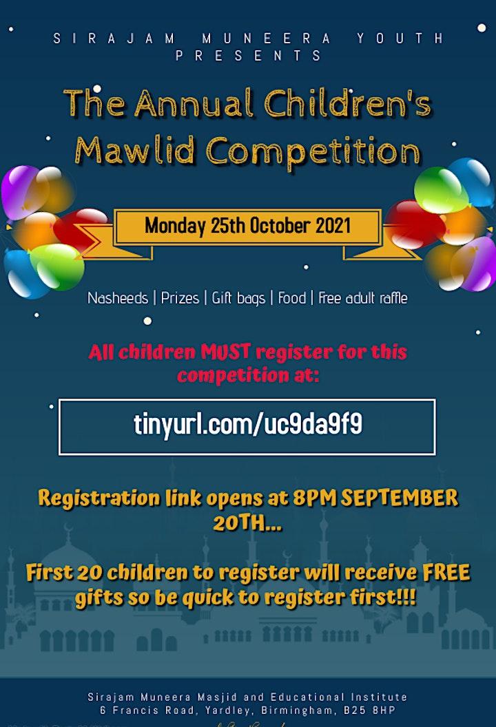 SirajamMuneera Annual Childrens Mawlid Competition image